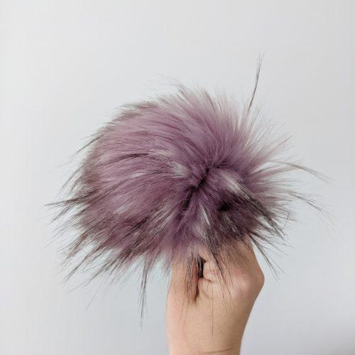 Smokey Lavender Faux Fur Pom Pom