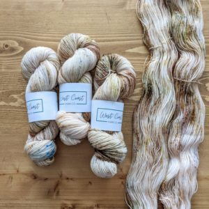 West Coast Yarn Co's yarn in the exclusive colorway Victoria in Bloom for Rose&Purl 2021 Yarn Club